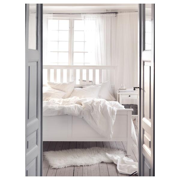 HEMNES Posteljni okvir, bela lazura/Lönset, 140x200 cm