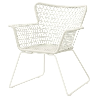 HÖGSTEN Stol z nasloni za roke, zunanji, bela
