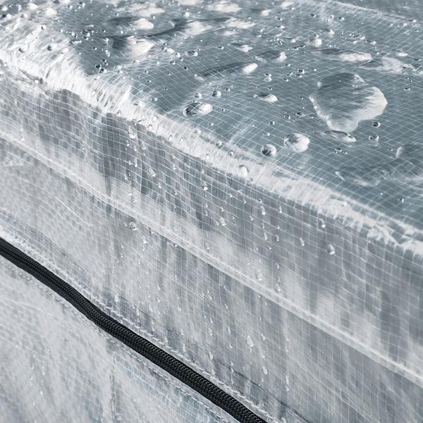HYLLIS Regal s prevlekami, prozorno, 180x27x74-140 cm