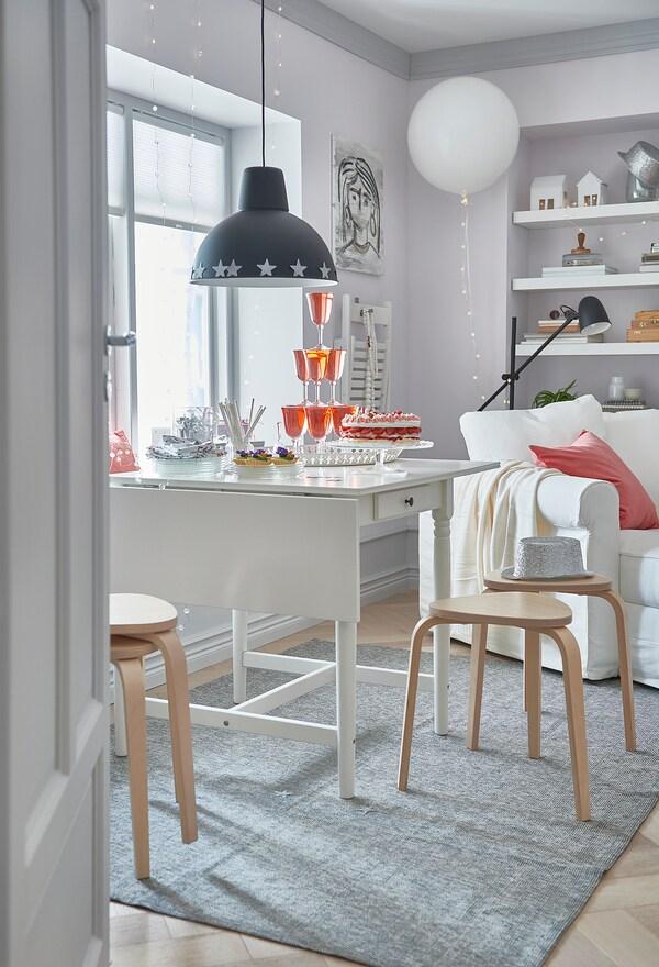 INGATORP Poklopna miza, bela, 65/123x78 cm