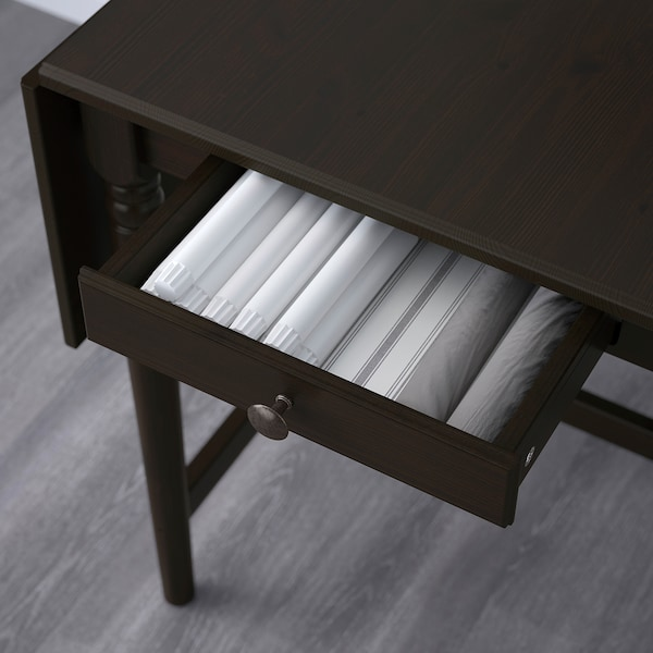 INGATORP Poklopna miza, črno rjava, 65/123x78 cm