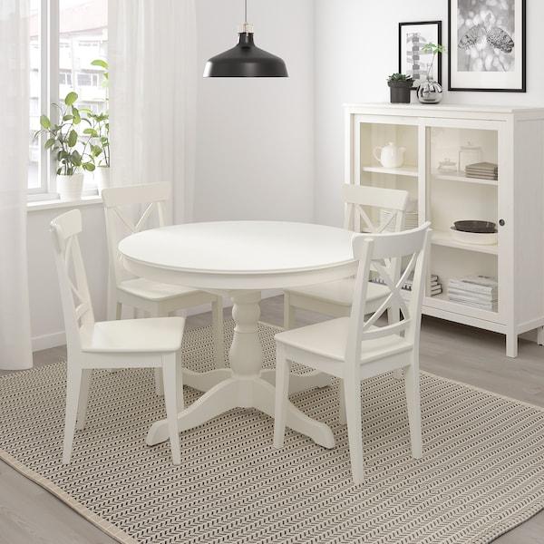 INGATORP Raztegljiva miza, bela, 110/155 cm
