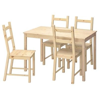 INGO / IVAR Miza in 4 stoli, bor, 120 cm