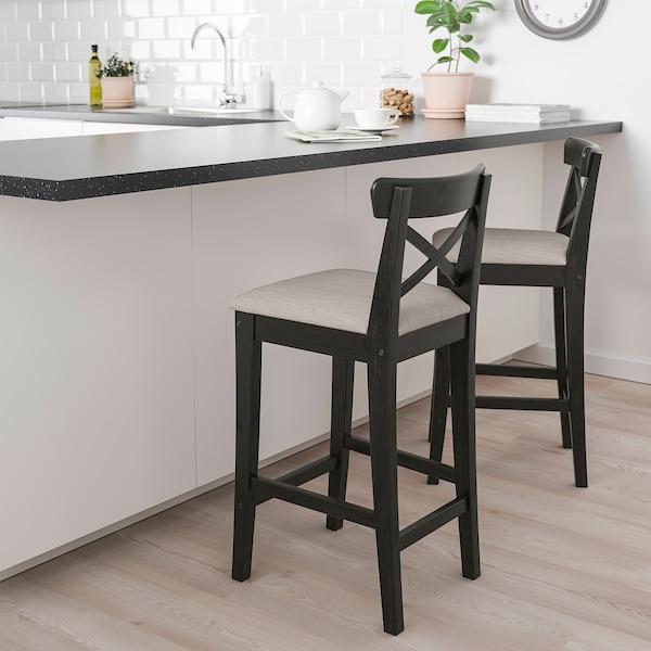 INGOLF Barski stol z naslonom, rjavo črna/Nolhaga sivo bež, 65 cm