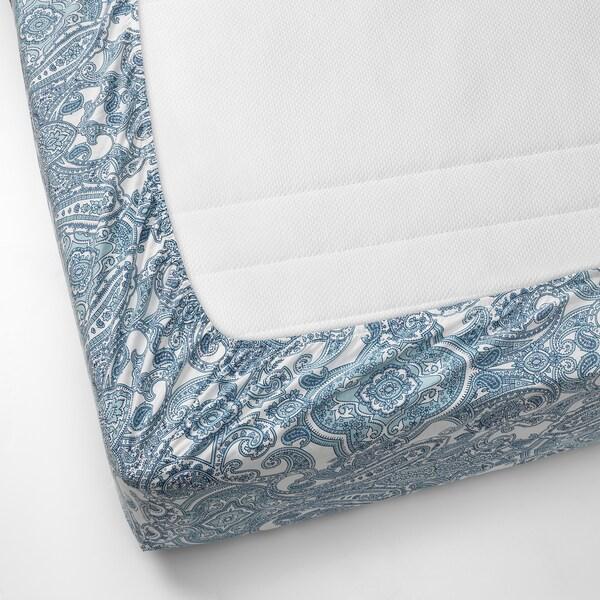 JÄTTEVALLMO Napenjalna rjuha, bela/modra, 180x200 cm