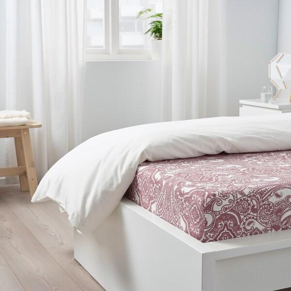 JÄTTEVALLMO Napenjalna rjuha, bela/temno roza, 90x200 cm