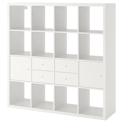 KALLAX Regal s 4 vstavki, bela, 147x147 cm