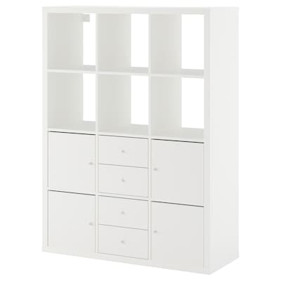 KALLAX Regal s 6 vstavki, bela, 112x147 cm