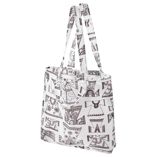KARISMATISK Nakupovalna vreča, bela/črna, 15 l