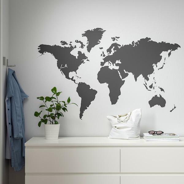 KLÄTTA Okrasne nalepke, črna tabla zemljevid sveta, 60x103 cm