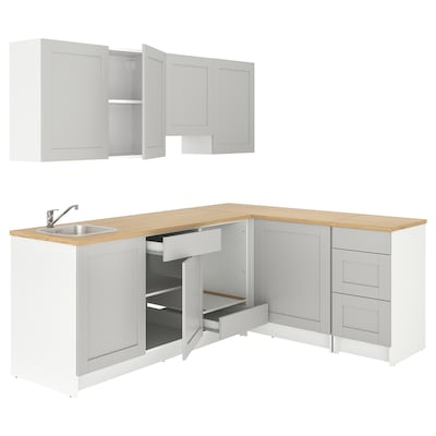 KNOXHULT Kotna kuhinja, siva, 243x164x220 cm