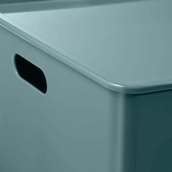 KUGGIS Zaboj za shranjevanje s pokrovom, turkizna, 37x54x21 cm