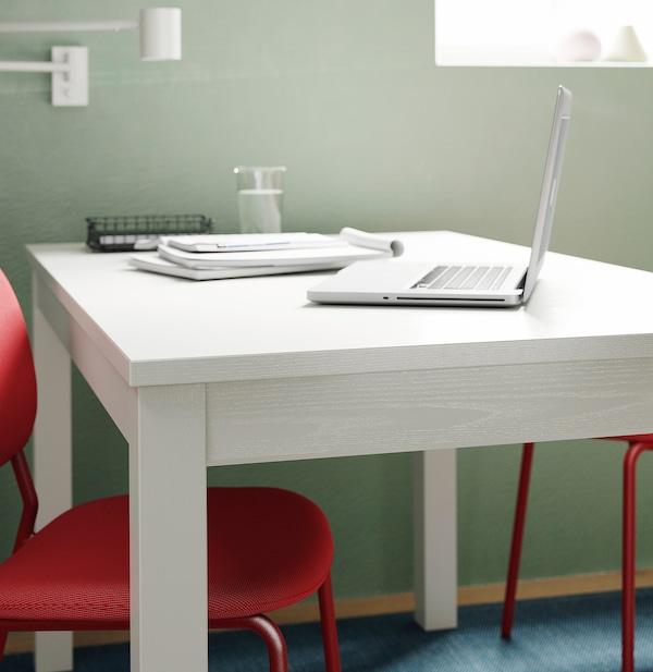 LANEBERG Raztegljiva miza, bela, 130/190x80 cm