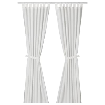 LENDA Zavese s priveznimi trakovi, 1 par, bela, 140x300 cm