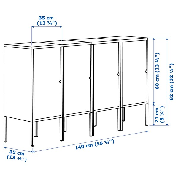 LIXHULT Pohištveni sestav, antracit, 140x35x82 cm