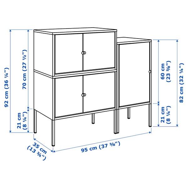 LIXHULT Sestav omaric, siva/antracit, 95x35x92 cm