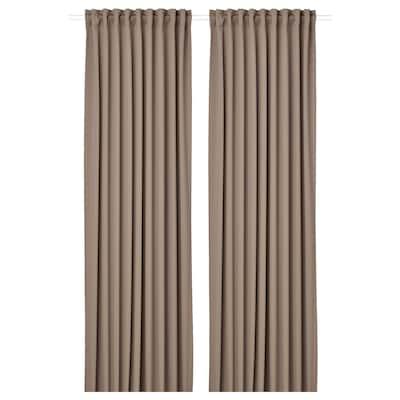 MAJGULL Zatemnitvene zavese, 1 par, siva/rjava, 145x300 cm