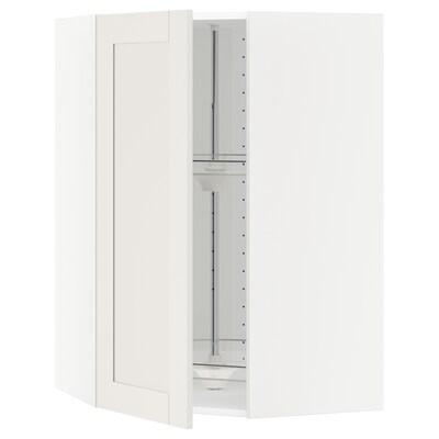 METOD Kotna viseča omarica+vrtljiv police, bela/Sävedal bela, 68x100 cm