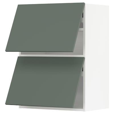 METOD Ležeča viseča omarica+2 vrata, op, bela/Bodarp sivo zelena, 60x80 cm