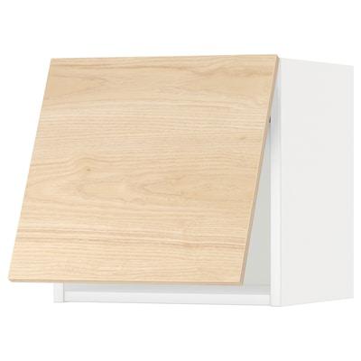 METOD Ležeča viseča omarica, odp pritisk, bela/Askersund imitacija svetlega jesena, 40x40 cm