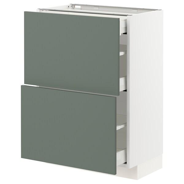METOD / MAXIMERA Podstav omr z 2 ličnicama/3 predali, bela/Bodarp sivo zelena, 60x37 cm