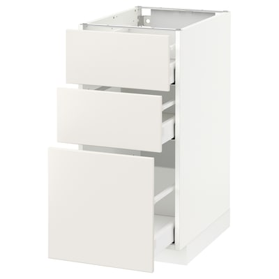 METOD / MAXIMERA Podstavna omarica s 3 predali, bela/Veddinge bela, 40x60 cm
