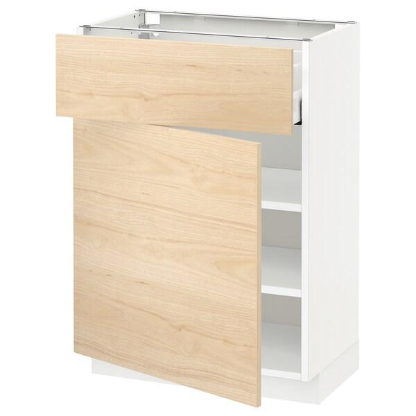 METOD / MAXIMERA Podstavna omarica s predalom/vrati, bela/Askersund imitacija svetlega jesena, 60x37 cm