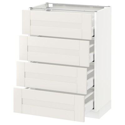 METOD / MAXIMERA Podstavna omr 4 ličnice/4 predali, bela/Sävedal bela, 60x37 cm