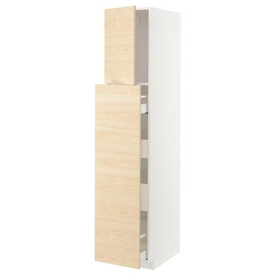 METOD / MAXIMERA Visoka omara+izvl kolona 1vr/4pr, bela/Askersund imitacija svetlega jesena, 40x60x200 cm