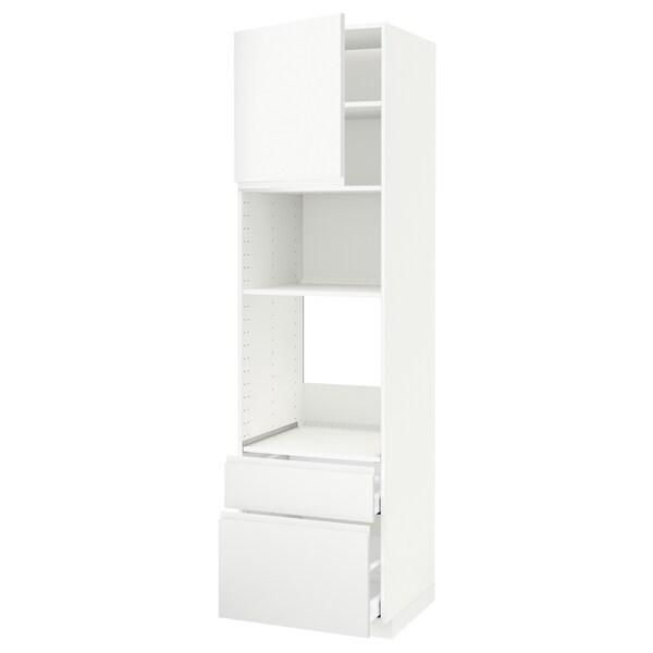 METOD / MAXIMERA Vsk omara za pčc/mv pečico+vr/2pr, bela/Voxtorp mat bela, 60x60x220 cm