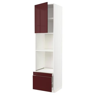 METOD / MAXIMERA Vsk omara za pečico/komb pčc+vr/2pr, bela Kallarp/visoki sijaj temna rdeče rjava, 60x60x240 cm