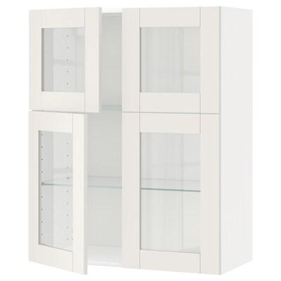 METOD Viseča omarica+police/4stk vrata, bela/Sävedal bela, 80x100 cm