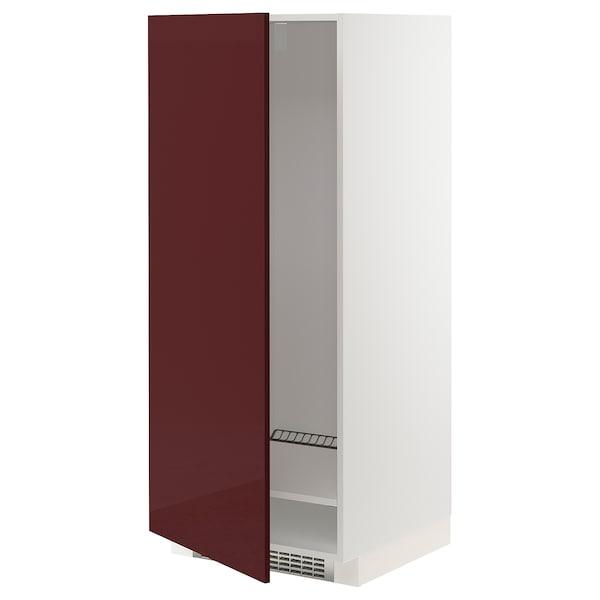 METOD Visoka omara za hladilnik/zamrzoval, bela Kallarp/visoki sijaj temna rdeče rjava, 60x60x140 cm