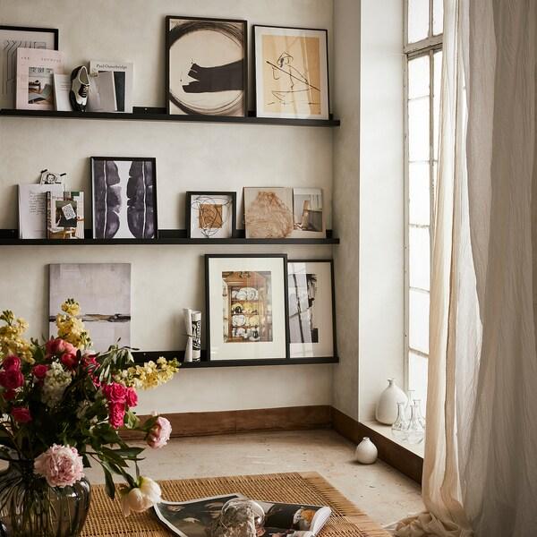 MOSSLANDA Polica za slike, črna, 115 cm