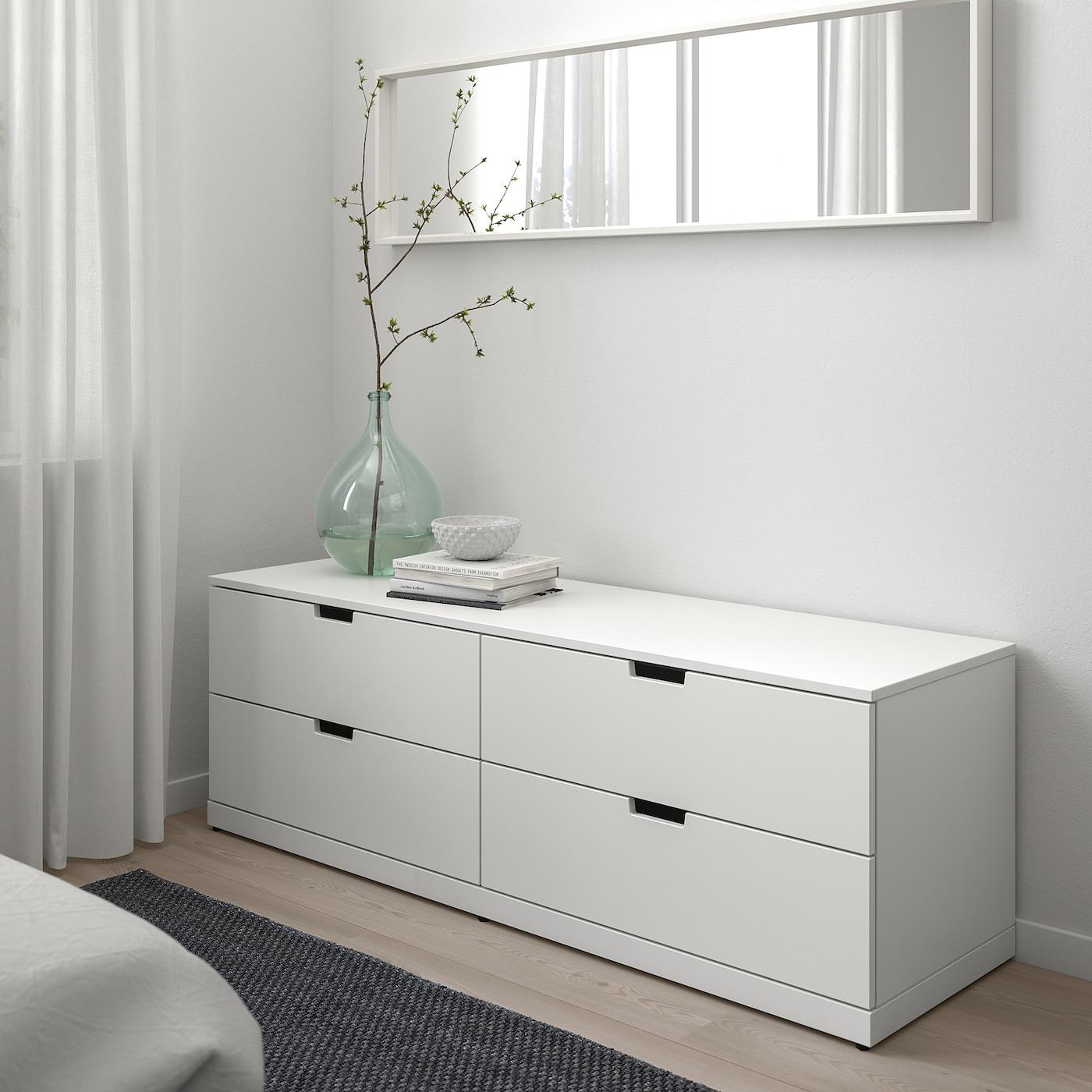 NORDLI Predalnik s 4 predali, bela, 160x54 cm