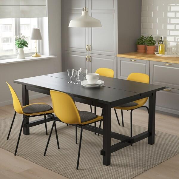 NORDVIKEN / LEIFARNE Miza in 4 stoli, črna/Broringe črna, 152/223x95 cm