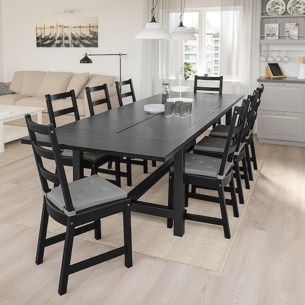 NORDVIKEN Raztegljiva miza, črna, 210/289x105 cm
