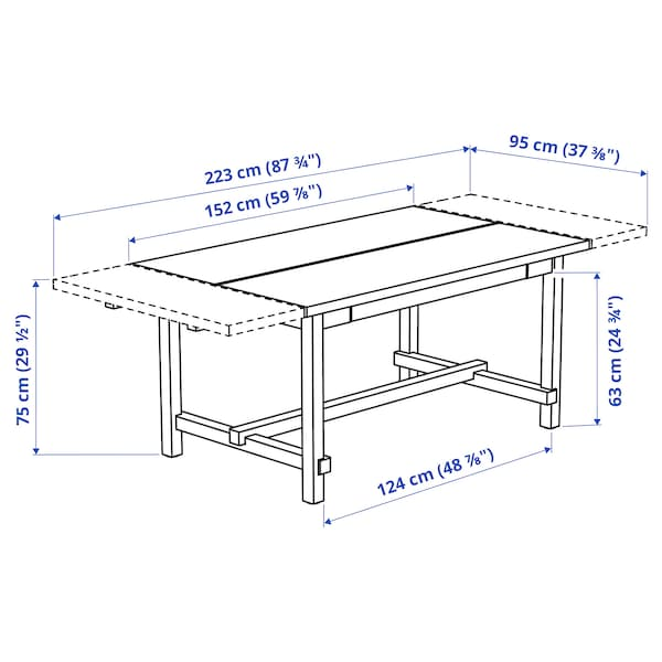 NORDVIKEN Raztegljiva miza, črna, 152/223x95 cm