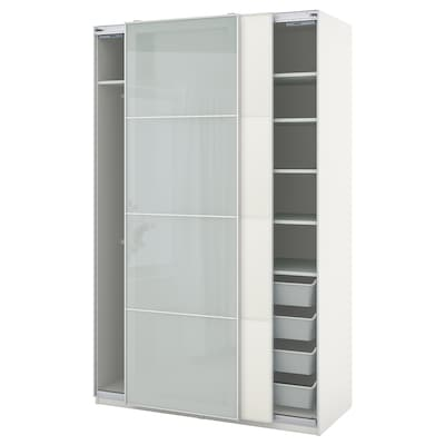 PAX / MEHAMN/SEKKEN Garderobni sestav, bela/matirano steklo, 150x66x236 cm