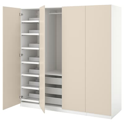 PAX / REINSVOLL Garderobni sestav, bela/sivo bež, 200x60x201 cm
