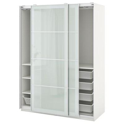 PAX / SEKKEN Garderobni sestav, bela/matirano steklo, 150x66x201 cm