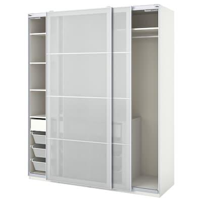 PAX / SVARTISDAL Garderobni sestav, bela bela/imitacija papirja, 200x66x236 cm