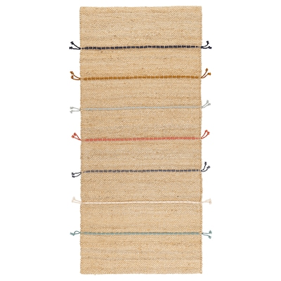 RAKLEV Preproga, plosko tkana, ročno delo naravno/večbarvno, 70x160 cm