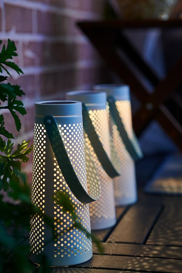SOLVINDEN LED solarna namizna svetilka, stožčasta oblika bela, 27 cm