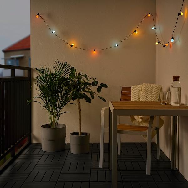 SOLVINDEN LED svetlobna veriga z 12 žarnicami, na baterije/zunanje večbarvno