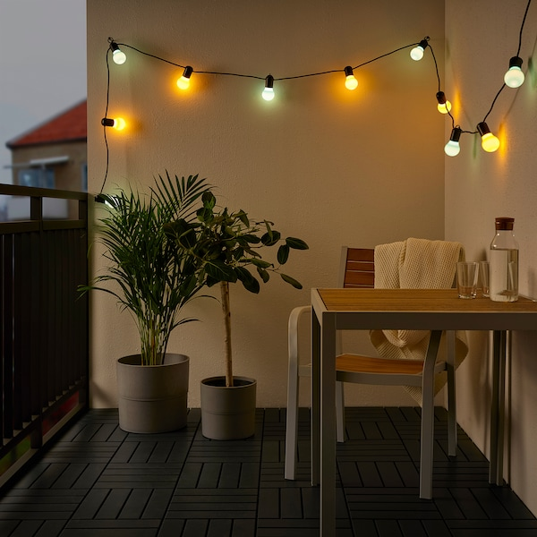 SOLVINDEN LED svetlobna veriga z 12 žarnicami, zunanje/večbarvno