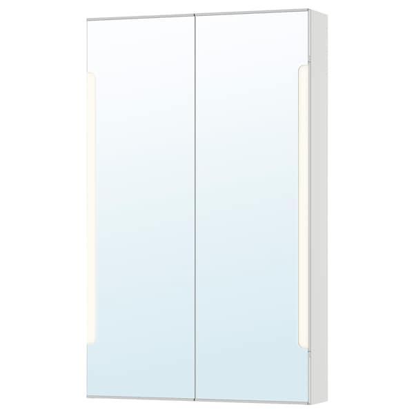 STORJORM Ogledal omarica 2 vr/vgrad svetilka, bela, 60x14x96 cm