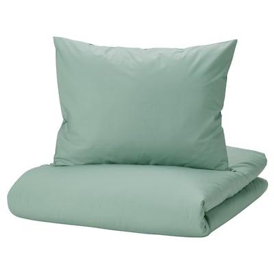 STRANDTALL Prevleka za prešito odejo/vzglavnik, sivo zelena/temno zelena, 150x200/50x60 cm