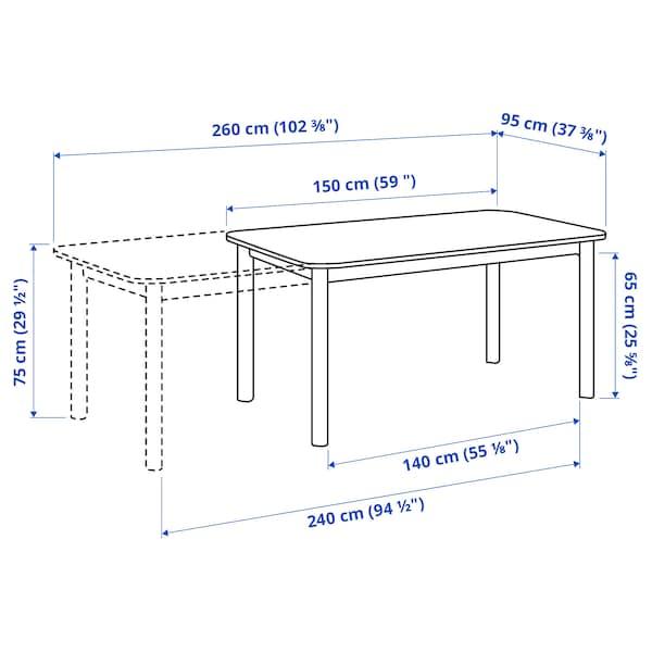 STRANDTORP Raztegljiva miza, bela, 150/205/260x95 cm