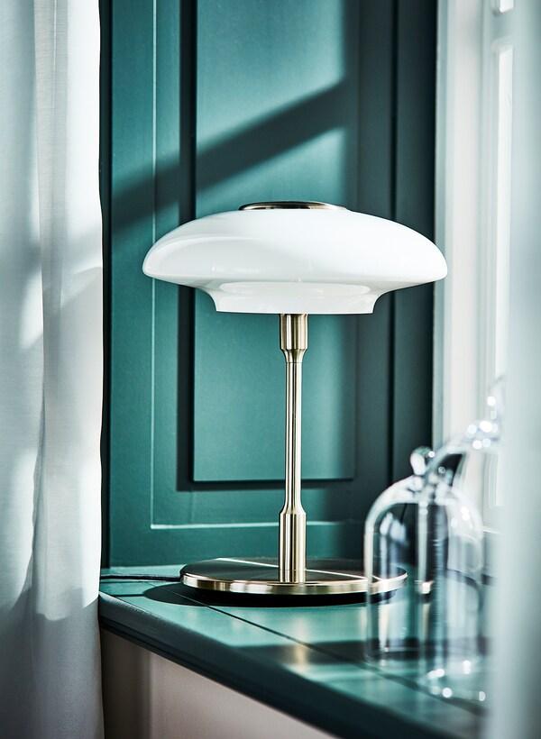 TÄLLBYN Namizna svetilka, nikljano/mlečno bela steklo, 40 cm